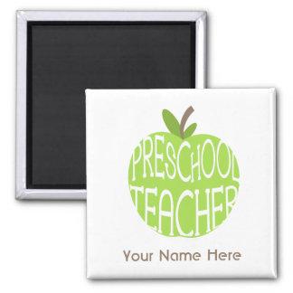 Ímã pré-escolar do professor - Apple verde Ímã Quadrado