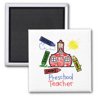 Ímã pré-escolar do professor - escola & pastéis ímã quadrado