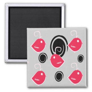 ímã preto e cor-de-rosa do teste padrão do pássaro ima de geladeira