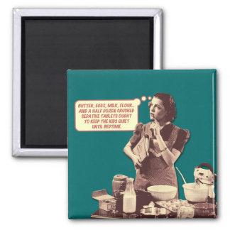 Ímã retro da dona de casa - receita do bolo de Sle Ímã Quadrado