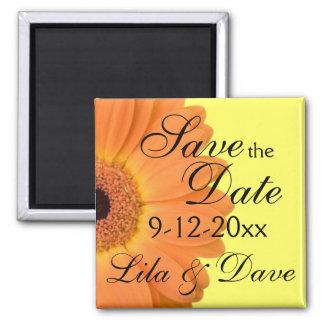 Imã salve a data alaranjada e amarela ímã quadrado