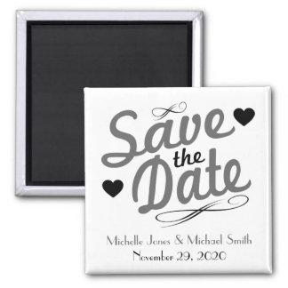 Imã salve a data antiquado (cinza/preto) ímã quadrado