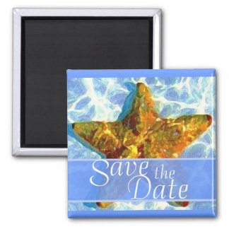 Imã salve a data da estrela do mar ímã quadrado
