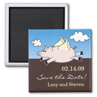 Imã salve a data do porco do vôo ímã quadrado