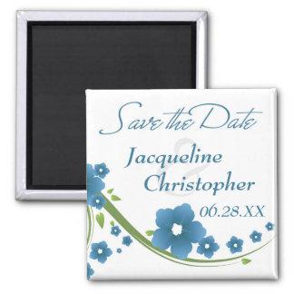 Imã salve a data floral azul