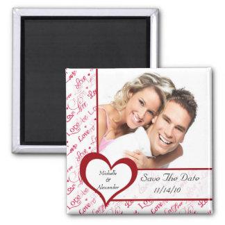 Imã salve a data vermelha da foto do amor do coraç ímã quadrado