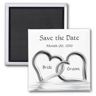 Imã salve o dia de prata dos corações ímã quadrado