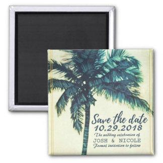 Imã salve o dia tropical do casamento da palma da ímã quadrado