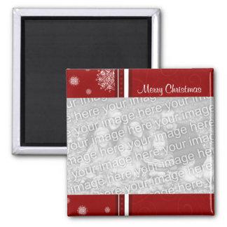 Ímã vermelho da foto do Feliz Natal Ímã Quadrado