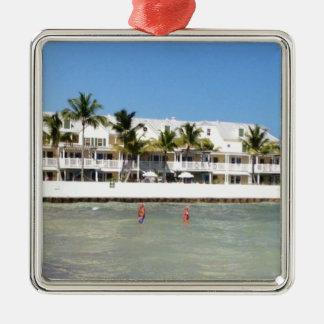 image.jpg Florida fecha a natação Ornamento Quadrado Cor Prata