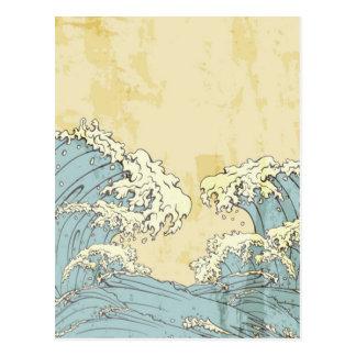 Imagem azul grande legal das ondas de oceano cartão postal