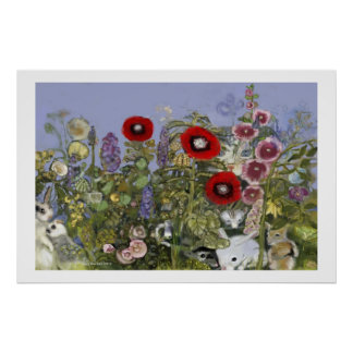 Imagem botânica w/wildlife, etc. dos Peepers de pr Poster