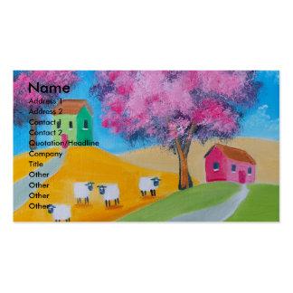 Imagem colorida da arte popular dos carneiros boni cartões de visitas