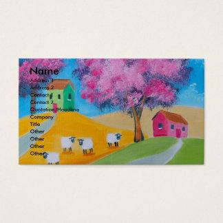 Imagem colorida da arte popular dos carneiros cartão de visitas