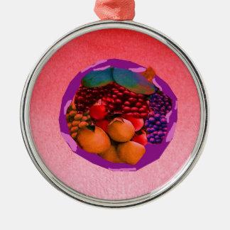 imagem da comida de gtapes3.JPG para cozinhas, Ornamento Redondo Cor Prata