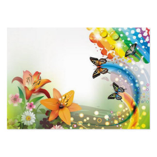 imagem de flores e borboletas cartão de visita grande