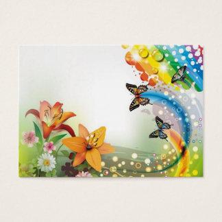 imagem de flores e borboletas cartão de visitas