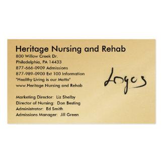Imagem do logotipo, cuidados da herança e reabilit cartões de visita