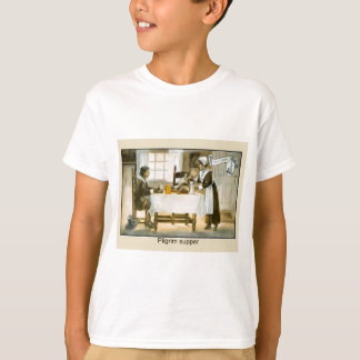 Imagem do vintage da réplica, ceia do peregrino, camiseta