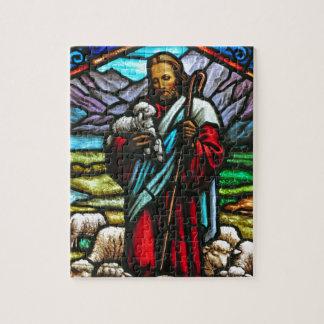 Imagem do vitral de Jesus e de cordeiros Quebra-cabeças