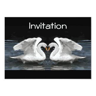 Imagem invertida branca da cisne muda convite 12.7 x 17.78cm