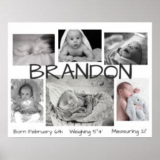 Imagem preta & branca do bebê poster personalizado pôster