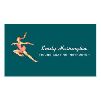 Imagem retro de uma figura patinador em um cartão de visita