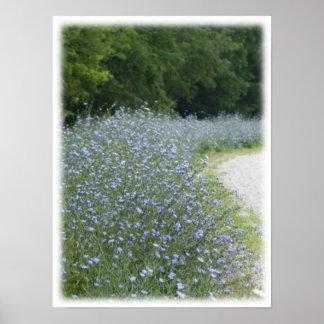 Imagem roxa selvagem da paisagem da flor de Chicko Poster