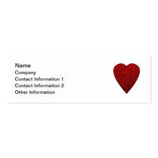 Imagem vermelha brilhante do coração cartão de visita skinny