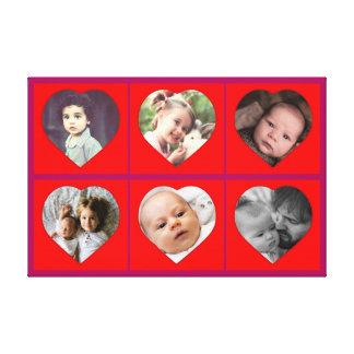 Imagens dadas forma coração da família impressão em tela