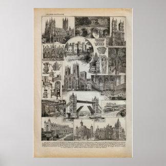 Imagens do historicn do vintage de Grâ Bretanha 19 Impressão