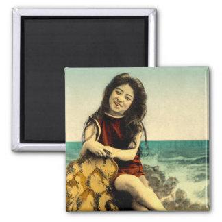 Íman Beleza japonesa da praia de banho do roupa de