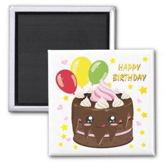 Íman Bolo de chocolate do feliz aniversario, kawaii