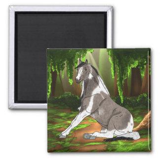 Íman Cavalo bonito de assento da pintura na floresta