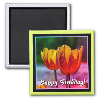 Íman Feliz aniversario! Vermelho amarelo das tulipas