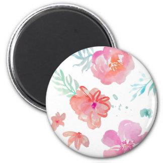 Íman Flores cor-de-rosa românticas da aguarela