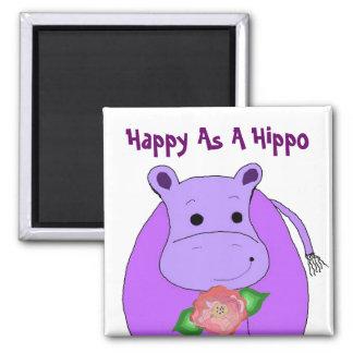 Íman Hipopótamo legal com flores