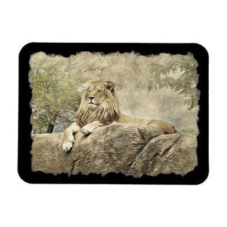 Íman Leão majestoso que senta-se em um penhasco Mamet