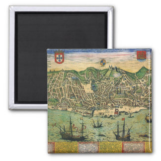 Íman Mapa antigo, plano de cidade de Lisboa, Portugal,