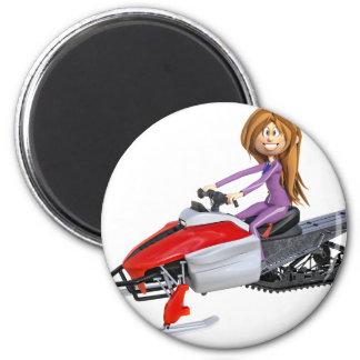 Íman Menina dos desenhos animados em um Snowmobile