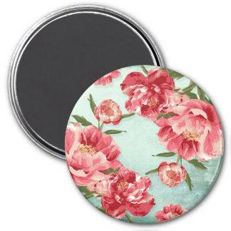Íman Peônias retros bonito de chintz da flor