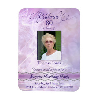 ímãs da foto do convite do aniversário do 80 foto com ímã retangular