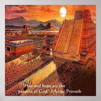 Império asteca & poster asteca famoso do provérbio