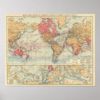 Império Britânico, rotas, correntes Poster