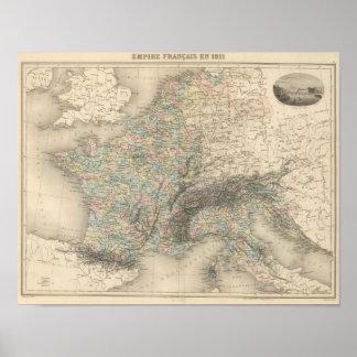 Império francês em 1811 impressão