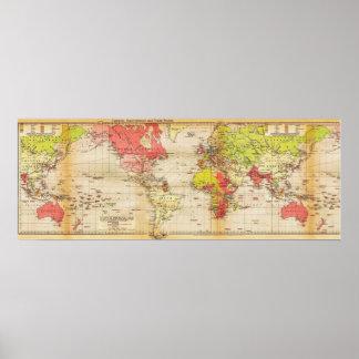 impérios 1918 e comércio do mapa do mundo poster