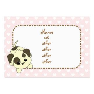 Implorando o filhote de cachorro com corações modelo cartao de visita