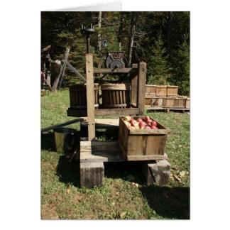 Imprensa de sidra de maçã antiga cartão comemorativo