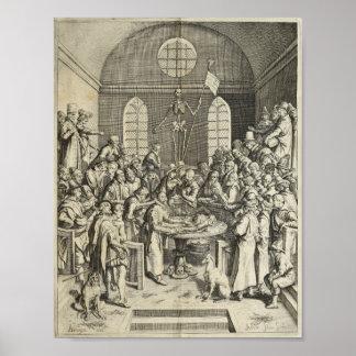 Impressão 1616 da anatomia da dissecção do vintage