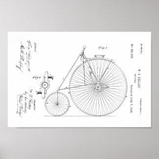 Impressão 1885 alto da patente da bicicleta da